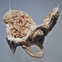 "Ann Rowles, Cradle (2008) (10"" x 12"" x 8""), Cotton thread, wire"
